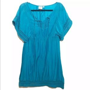 HD In Paris Anthropologie Blue Tunic Semi Sheer